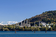 The Burnaby Refinery (owned by Parkland Fuel Corp) next to Burrard Inlet.  Photographed from the Maplewood Flats Conservation Area in North Vancouver, British Columbia, Canada.