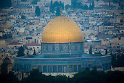 A view of Old City Jerusalem from the Mount of Olives, Israel. The golden dome in the center is the Dome of the Rock.