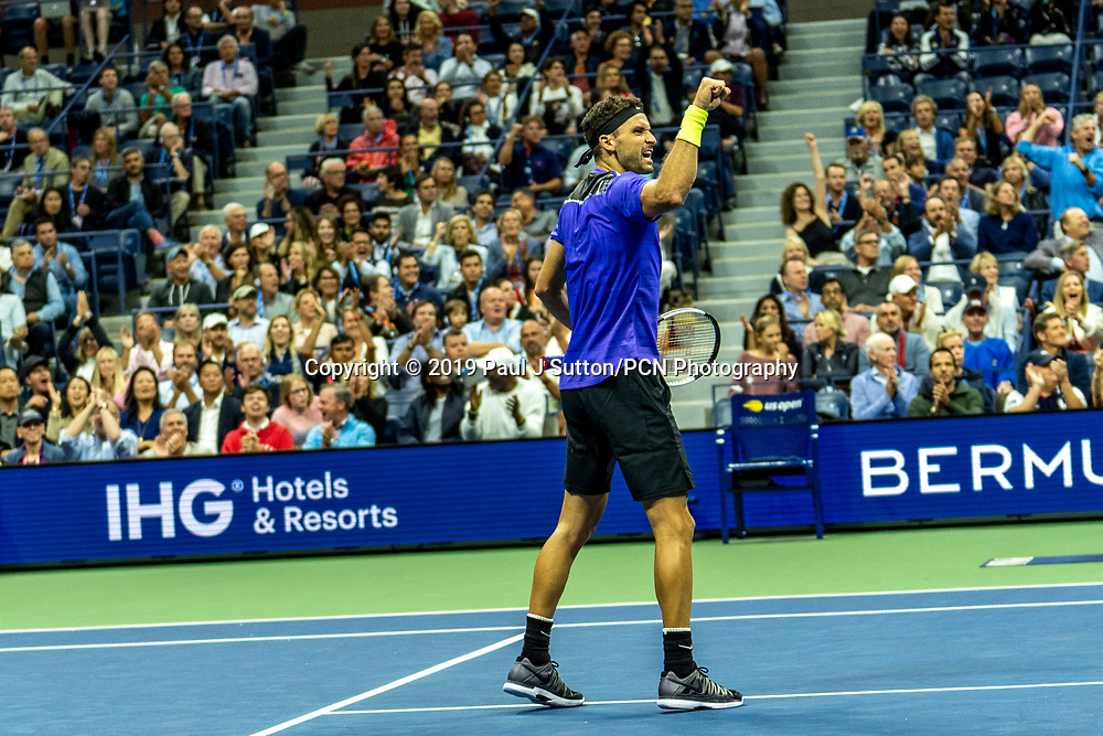 Grigor Dimitrov of Bulgaria competing in <br />  the Men's Semi-Finals at the 2019 US Open Tennis Championship