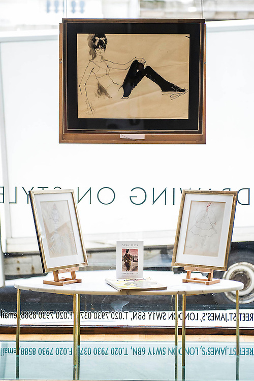 Barbara Hulanicki (1936 - ), Original Fashion Sketch, BIBA - flattening bra. Drawing on Style: Four Decades of Elegance - an exhibition of original vintage fashion illustrations from Post War 1940s through to the 1970s organized by GRAY M.C.A, leading specialists in Fashion Illustration.  It includes more than 40 original works by some of the leading illustrators of the time from Britain, Europe and America including René Bouché, René Gruau and Carl Erickson for publications including Vogue as well as advertising work for L'Oreal and other famous names in Haute Couture.  There are also a selection of original designs by designers including Dior, Biba & Zandra Rhodes. Coinciding with London Fashion Week, the exhibition runs from Thursday 11th - Tuesday 16th September 2014 with prices from £300-£10,000. Gallery 8, St James's, London. 10 Sept 2014. Guy Bell, 07771 786236, guy@gbphotos.com