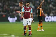 Dimitri Payet of West Ham United looking on. Premier league match, West Ham Utd v Hull city at the London Stadium, Queen Elizabeth Olympic Park in London on Saturday 17th December 2016.<br /> pic by John Patrick Fletcher, Andrew Orchard sports photography.