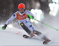 22.02.2014, Rosa Khutor Alpine Resort, Krasnaya Polyana, RUS, Sochi, 2014, Slalom, Herren, 1. Durchgang, im Bild Axel Baeck (SWE) // Axel Baeck of Sweden in action during the 1st run of mens Slalom to the Olympic Winter Games Sochi 2014 at the Rosa Khutor Alpine Resort, Krasnaya Polyana, Russia on 2014/02/22. EXPA Pictures © 2014, PhotoCredit: EXPA/ Johann Groder