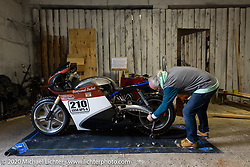 French custom builder Bertrand Dubet prepping his custom Aprillia RSV4b for the Baikal Mile in Siberia, Russia. Monday, February 24, 2020. Photography ©2020 Michael Lichter.Baikal Mile Ice Speed Festival. Maksimiha, Siberia, Russia. Tuesday, February 25, 2020. Photography ©2020 Michael Lichter.