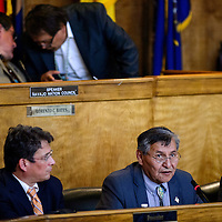 042015       Cable Hoover<br /> <br /> Navajo Nation President Ben Shelly delivers his State of the Nation address to the Navajo Nation Council in Window Rock Monday.