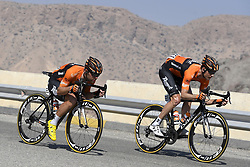February 15, 2018 - Muscat, Oman - WEENING Pieter of Roompot - Nederlandse Loterij, WIPPERT Wouter of Roompot - Nederlandse Loterij during stage 3 of the 9th edition of the 2018 Tour of Oman cycling race, a stage of 179.5 kms between German University of Technology and Wadi Dayqah Dam on February 15, 2018 in Muscat, Sultanate Of Oman, 15/02/2018 (Credit Image: © Panoramic via ZUMA Press)