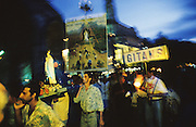 Gitans and Manouche carry their emblems during the religious pilgrimmage to Lourdes, southern France. Many also go to Saintes Maries de la Mer<br /><br />Europe, France, Lourdes Catholic Gypsy pilgrimmage