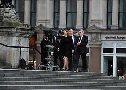 © Licensed to London News Pictures. 17 April 2013. St Paul's Cathedral London. Arrival of Gordon Brown is greeted with boos at the Funeral of Baroness Thatcher, former Conservative Prime Minister. Photo credit : MarkHemsworth/LNP