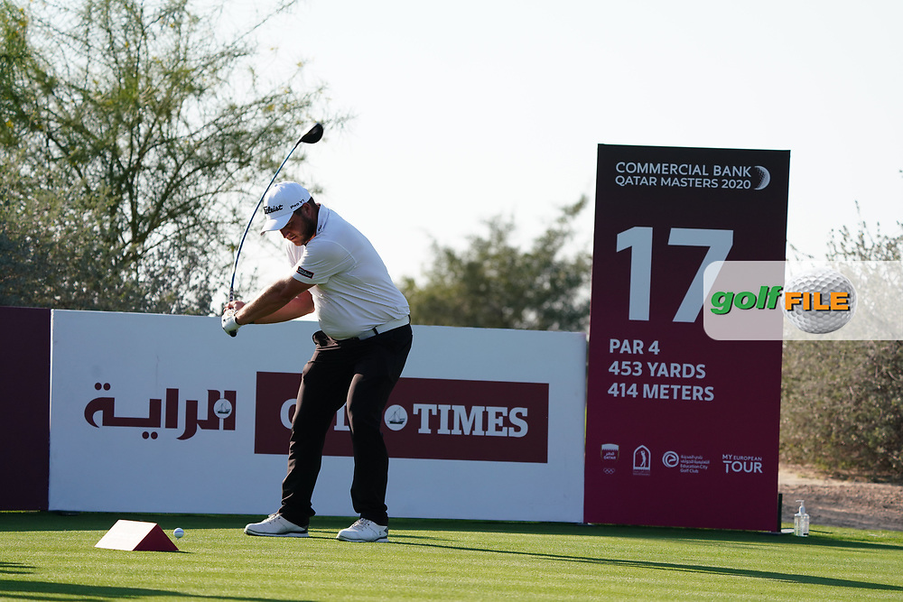 Zander Lombard (RSA) on the 17th during Round 1 of the Commercial Bank Qatar Masters 2020 at the Education City Golf Club, Doha, Qatar . 05/03/2020<br /> Picture: Golffile | Thos Caffrey<br /> <br /> <br /> All photo usage must carry mandatory copyright credit (© Golffile | Thos Caffrey)