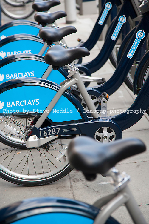 Barclays London Cycle hire Scheme 8th August 2010.New hire bicycles ready to use in their docking stations by the Tate Modern, London, Britain, A new scheme sponsored by Barclays bank to help people see London on two wheels.