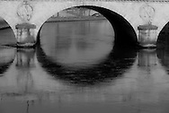 France. Paris. under the pont Saint Michel arches. the Seine river. in the quartier latin . / La Seine dans le quartier latin