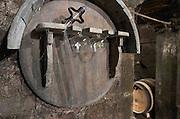Tools: sampling pipette, tasting glasses. Domaine Negociant Champy Pere & Fils, Beaune, Burgundy, France