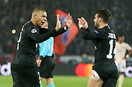 GOAL - Kylian Mbappe of Paris Saint-Germain celebrates with goal scorer Juan Bernat of Paris Saint-Germain 1-1 during the Champions League Round of 16 2nd leg match between Paris Saint-Germain and Manchester United at Parc des Princes, Paris, France on 6 March 2019.