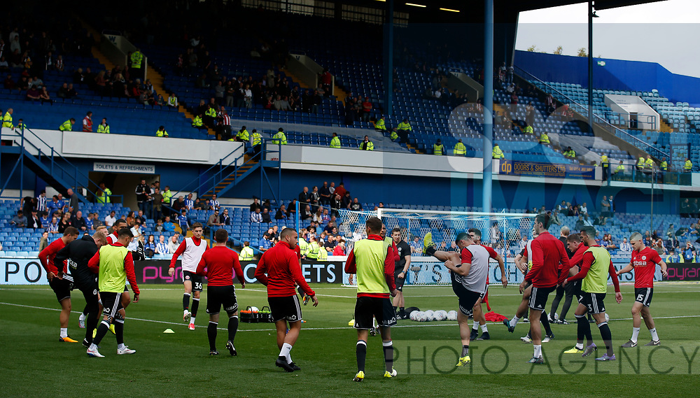 Sheffield Utd players warm up during the Championship match at the Hillsborough Stadium, Sheffield. Picture date 24th September 2017. Picture credit should read: Simon Bellis/Sportimage