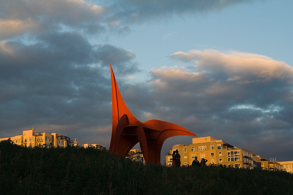 Eagle sculpture (Alexander Calder, 1971) at sunset at the Seattle Art Museum Olympic Sculpture Park in Seattle, Washington.