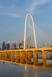 Margaret Hunt Hill Bridge, Continental Avenue Bridge, and Trinity River at flood stage, Dallas, Texas, USA