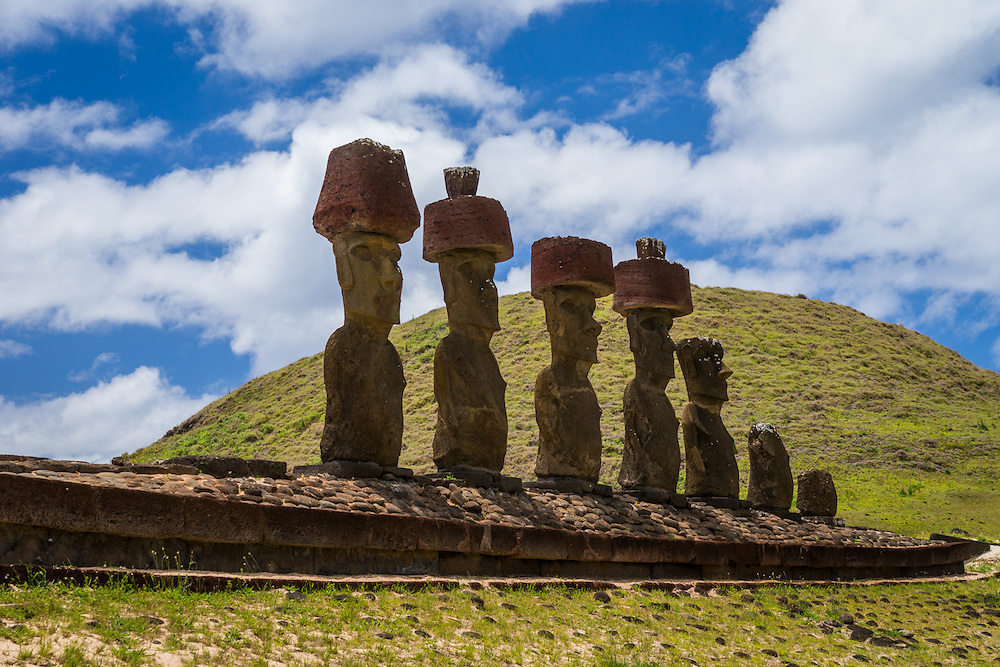 Pukao are hat like carvings on top of some moai.  The pukao were made and added after the moai were created.