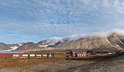 New-Aalesund, the northernmost permanent settelment in the World and a research town at western Spitsbergen, Svalbard, Norway.  The steam train was built in Germany in 1909 and designed for mining transport. Photo from August 2019.