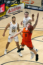 Feb 25, 2021; Berkeley, California, USA; Oregon State Beavers guard Zach Reichle (11) is fouled by California Golden Bears forward Grant Anticevich (15) as he drives to the basket during the first half of an NCAA college basketball game at Haas Pavilion. Mandatory Credit: D. Ross Cameron-USA TODAY Sports