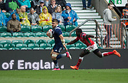"""Twickenham, Surrey United Kingdom. USA's. Stephen TOMASIN, chased by Brian TANGA, running in for a  tray during the Pool A game USA vs Kenya at the  """"2017 HSBC London Rugby Sevens"""",  Saturday 20/05/2017 RFU. Twickenham Stadium, England    <br /> <br /> [Mandatory Credit Peter SPURRIER/Intersport Images]"""