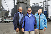 SHOT 10/29/18 9:46:11 AM - Sunrise Cooperative is a leading agricultural and energy cooperative based in Fremont, Ohio with members spanning from the Ohio River to Lake Erie. Sunrise is 100-percent farmer-owned and was formed through the merger of Trupointe Cooperative and Sunrise Cooperative on September 1, 2016. Photographed at the Clyde, Ohio grain elevator was George D. Secor President / CEO and John Lowry<br /> Chairman of the Board of Directors with  CoBank RM Gary Weidenborner. (Photo by Marc Piscotty © 2018)