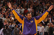 Vlade Divac says thanks for the memories to the crowd prior the the start of the game.  Sacramento Kings vs. Los Angeles Lakers at ARCO Arena, Thursday, December 16, 2004