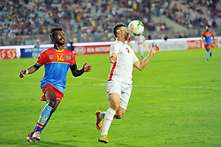 September 1, 2017 - Tunis, Tunisia - Youhan Touzgar(9) of Tunisia and Zakuani Gabriel(14) of Congo during the qualifying match for the World Cup Russia 2018 between Tunisia and the Democratic Republic of Congo (RD Congo) at the Rades stadium in Tunis. (Credit Image: © Chokri Mahjoub via ZUMA Wire)