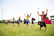 The Oregon Marching Band, collectively known as Shadow Armada, practices in Sutton's Bay, Michigan on July 13, 2013.