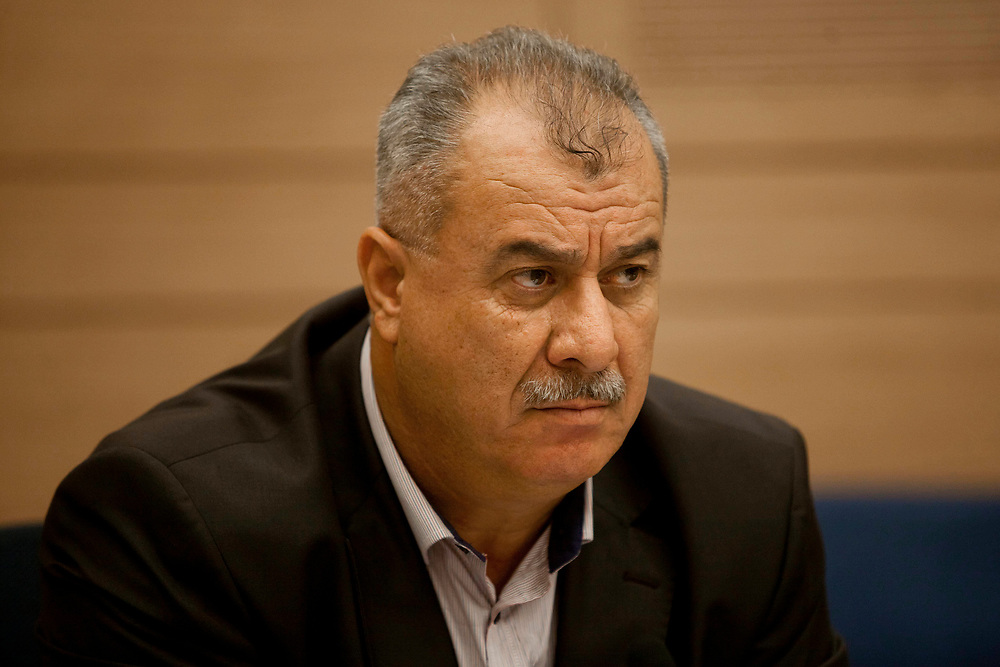 Arab-Israeli lawmaker, Knesset Member Mohammad Barakeh attends a session of the Education, Culture, and Sports Committee at the Knesset, Israel's parliament in Jerusalem, on June 4, 2012.