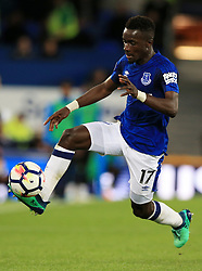 """Everton's Idrissa Gueye during the Premier League match at Goodison Park, Liverpool. PRESS ASSOCIATION Photo. Picture date: Monday April 23, 2018. See PA story SOCCER Everton. Photo credit should read: Peter Byrne/PA Wire. RESTRICTIONS: EDITORIAL USE ONLY No use with unauthorised audio, video, data, fixture lists, club/league logos or """"live"""" services. Online in-match use limited to 75 images, no video emulation. No use in betting, games or single club/league/player publications."""