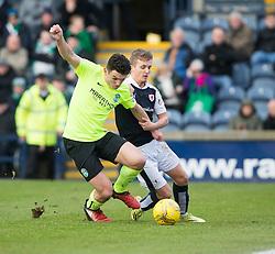 Hibernian's John McGinn and Raith Rovers Bobby Barr. halt time : Raith Rovers 0 v 0 Hibernian, Scottish Championship game played 18/2/2017 at Starks Park.
