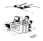 (Official war poet for the First Gulf War sitting at a computer in the middle of the desert)