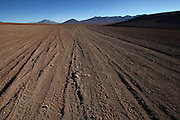 Images of the roads around Arbol de Piedra (Tree Rock) in the southern end of the Bolivian Altiplano - it is the result of a volcanic eruption from a volcano across the valley - spewed rocks around the surrounding desert