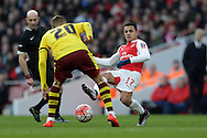 Alexis Sanchez of Arsenal in action. The Emirates FA cup, 4th round match, Arsenal v Burnley at the Emirates Stadium in London on Saturday 30th January 2016.<br /> pic by John Patrick Fletcher, Andrew Orchard sports photography.
