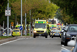 March 15, 2019 - Christchurch, Canterbury, New Zealand - Paramedics and police presence outside the mosque following a shooting resulting in multiple fatalities and injuries at the Masjid Al Noor Mosque, Deans Avenue, Christchurch, New Zealand. At least 49 people were killed and 20 seriously injured in mass shootings at two mosques in the New Zealand city of Christchurch. 48 people, including young children with gunshot wounds, were taken to hospital. Three people were arrested in connection with the shootings. (Credit Image: © Martin Hunter/SNPA via ZUMA Wire)