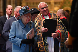 Queen Elizabeth II alongside the Very Reverend Dr David Hoyle at the Commonwealth Service at Westminster Abbey, London on Commonwealth Day. The service is the Duke and Duchess of Sussex's final official engagement before they quit royal life.