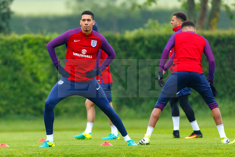© Licensed to London News Pictures. 01/06/2016. London, UK. England's CHRIS SMALLING training with England team at Watford Training Ground on Wednesday, 1 June 2016, ahead of the Euro 2016 in France. Photo credit: Tolga Akmen/LNP