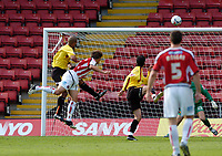Photo: Leigh Quinnell.<br /> Watford v Sheffield United. Coca Cola Championship.<br /> 17/09/2005. Sheffield Uniteds Phil Jagielka sends his goal for Sheffield United into the back of the net.