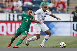 May 28, 2018 - Chester, PA, U.S. - CHESTER, PA - MAY 28: United States midfielder Weston McKennie (6) battles with Bolivia forward Rodrigo Vargas  (18) during the international friendly match between the United States and Bolivia at the Talen Energy Stadium on May 28, 2018 in Chester, Pennsylvania. (Photo by Robin Alam/Icon Sportswire) (Credit Image: © Robin Alam/Icon SMI via ZUMA Press)