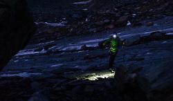 THEMENBILD - Bergsteigerin am Ködnitzkees in der Nacht mit Stirnlampe. Der Großglockner ist mit 3798 m ü.A. der höchste Berg Österreichs und ein beliebtes Ziel zahlreicher Bergsteiger. Er ist in der Glocknergruppe in den Hohen Tauern. Aufgenommen am 11.10.2014 in Tirol, Österreich // Mountaineer with headtorch at Night. Grossglockner is the highest mountain of austria and is located in the Hohe Tauern mountain range which is part of the central eastern alps. Tyrol, Austria on 2014/10/11. EXPA Pictures © 2014, PhotoCredit: EXPA/ Michael Gruber