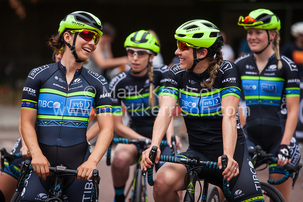 London, UK. 3 August, 2019. Team Tibco-Silicon Valley Bank (USA) prepare for the Prudential RideLondon Classique. The Classique, which is the richest one-day women's race in the world, covers 20 laps of a tight circuit of 3.4 kilometres around St James's Park and Constitution Hill.