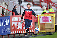 Stevenage goalkeeper Billy Johnson(13)  warming up during the EFL Sky Bet League 2 match between Stevenage and Cheltenham Town at the Lamex Stadium, Stevenage, England on 20 April 2021.