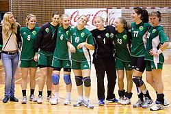 From left: Neza Mitrusevska,  Kaja Jankovic, Ekaterina Ceckova, Neli Irman, , Spela Kogovsek, Maja Son, Vesna Pus at last 10th Round handball match of Slovenian Women National Championships between RK Krim Mercator and RK Olimpija, on May 15, 2010, in Galjevica, Ljubljana, Slovenia. Olimpija defeated Krim 39-36, but Krim became Slovenian National Champion. (Photo by Vid Ponikvar / Sportida)
