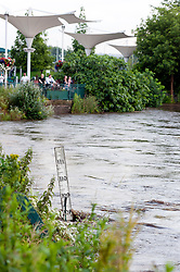 Torrential  rain causes the River Don to rise to within feet of overflowing its banks. Probably the highest level seen in the Meadowhall area of Sheffield since it burst it banks in 2007 flooding Meadowhall Shopping Centre and surrounding businesses..6 July 2012.Image © Paul David Drabble