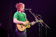 English singer-songwriter Ed Sheeran performing in support of Taylor Swift on the RED Tour 2013 at the Scottrade Center in St. Louis on March 18, 2013.