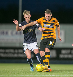 Falkirk's Craig Sibbald and Alloa Athletic's Burton O'Brien. <br /> Falkirk 5 v 0 Alloa Athletic, Scottish Championship game played at The Falkirk Stadium.