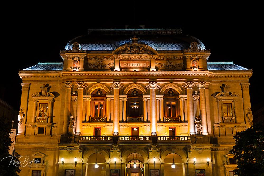 Célestins Theater at night, Lyon, France (UNESCO World Heritage Site)