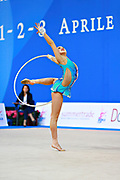 Son Yeon Jae during final at hoop in Pesaro World Cup 03 April 2016. Yeon Jae is an Korean individual rhythmic gymnast, she was born  28 May, 1994 Seoul, Republic of Korea. After the 2016 Olympic Games Son decided to stop the competitive activity.