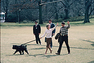 Preaident Reaganand First Lady Nancy Reagan arriving at the White House from Camp David with their dog, Lucky in March 1985<br /><br />Photograph by Dennis Brack