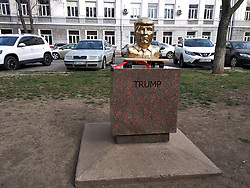 March 28, 2019 - Odesa, Ukraine - A bust of United States President Donald Trump is showcased on Oleksandrivskyi Avenue in Odesa, southern Ukraine, March 28, 2019. Artist by Vadym Bondarenko put the busts of United States President Donald Trump and North Korean leader Kim Jong Un on display for half an hour. The sculptures that are part of the Myru - myr (Peace to the World) project were moved to the Odesa Museum of Modern Art. According to Vadym Bondarenko, he chose to depict those politicians because of their negotiations that could change the world. Ukrinform. (Credit Image: © Nina Liashonok/Ukrinform via ZUMA Wire)