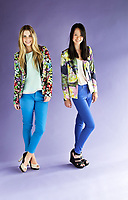 Viviens Models Monique (blond) wearing a discoiunt label & Chervil (Brunette) wearing high fashion label. KMart and Big W for high fashion? Discount chains are investing big money into trend forecasting and making sure they offer affordable versions of the more expensive labels. Pic By Craig Sillitoe CSZ / The Sunday Age<br /> 24/08/2012